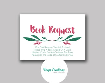 Book Request Card for Baby Shower / Matching Pink Fox