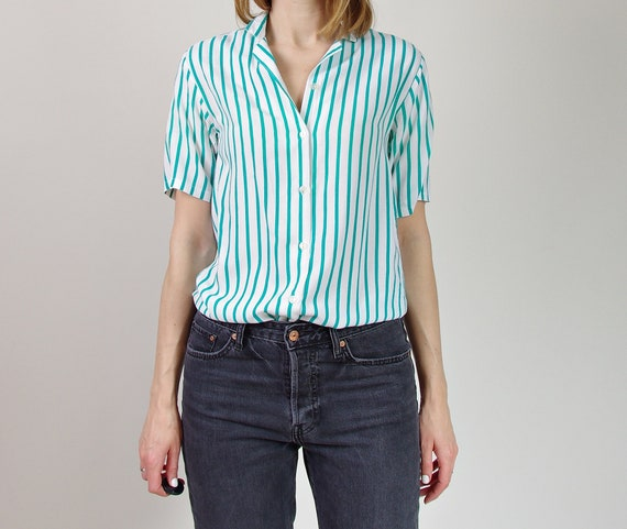 90s Sasha turquoise striped viscose blouse top / size S