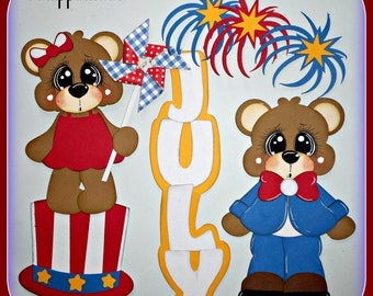 July 4th Handmade Bear Embellishment Die Cut 4 Cards Scrapbook Pages Layouts Elite4u