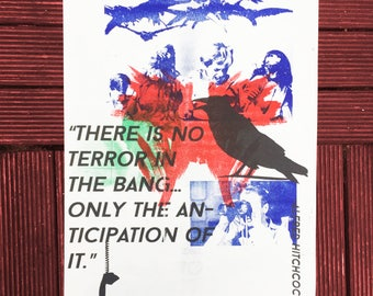 The Birds limited edition risograph poster, horror movie, bmovie
