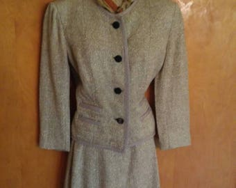 Vintage 1950s Beige/Tan/Cream nubby texture Boykoff suit