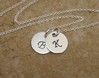 """Dainty Initial necklace - Two initials - Three initials - Mom initial necklace - 3/8"""" Sterling silver disc necklace - Photo NOT actual size"""