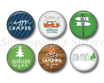 Camping Magnets - Fridge Magnets - RV Camping - 6 Magnets - 1.5 Inch Magnets - Kitchen Magnets