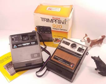 Pair of Kodak Instant Film Cameras, Trimprint 920 with Box and Manual,and Colorburt 100 Untested, for Display/ Parts, Great Shape
