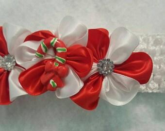 Christmas headband, Infant headband, Candy Cane headband, Girls headband, Holiday headband, Girls winter headband, Red and white headband