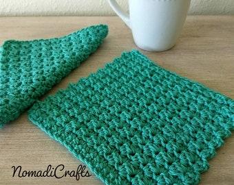 cotton crochet dishcloth, washcloth turquoise - set of 2 - gift, housewarming gift, mother's day gift, baby gift