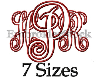 Interlocking vine Applique Font  Design Interlocking Monogram Applique Monogram Font Machine Embroidery Fonts   -  7 Sizes