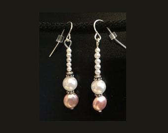 Pink & 'Pearl' Bead Earrings