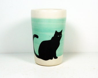 itty bitty cylinder / vase / cup with a black cat print on blue green band READY TO SHIP