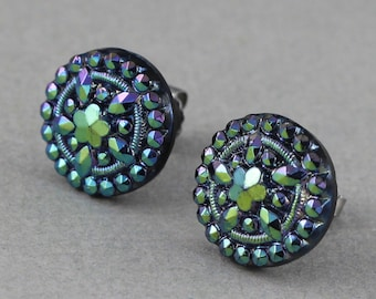 Studded Daisy in Metallic Midnight Blue - vintage glass button surgical Steel post earrings, repurposed, up cycled jewelry