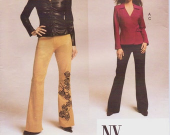 NY NY the Collection Womens Fitted Shirt or Tunic & Pants OOP Vogue Sewing Pattern 2679 Size 8 10 12 Bust 31 1/2 to 34 UnCut