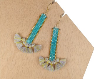 Turquoise - Swing Time Tassel Earrings