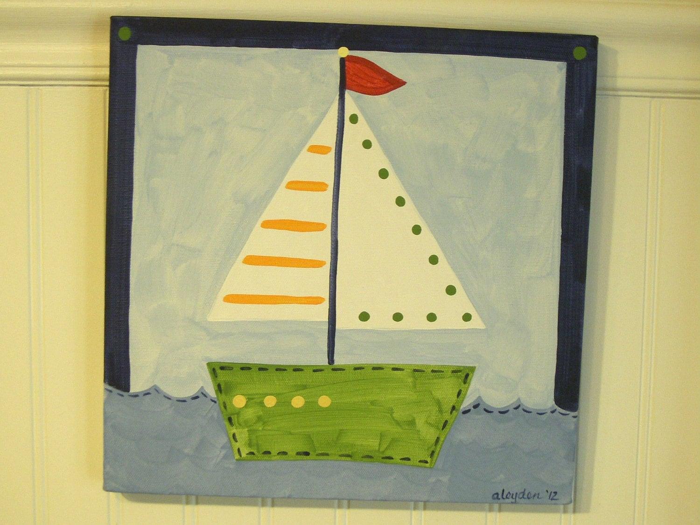 Sailboat canvas painting 12 x 12 Nautical boat Original hand
