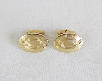 Mid Century Anson Brass Cuff Links - Oval Shaped - Engraved