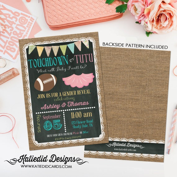 he or she gender reveal invitation | touchdowns or tutus | football | twins shower | co-ed baby shower | Burlap Lace | 1431 Katiedid Designs
