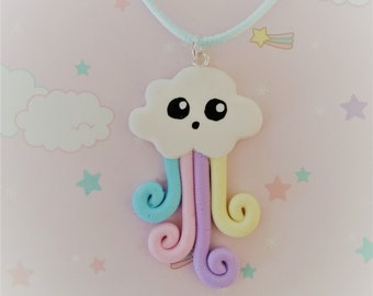 Kawaii polymer clay Rainbow cloud necklace