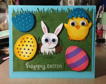 "Handmade Easter Card ""Happy Easter Bunny, Chick and Eggs"""