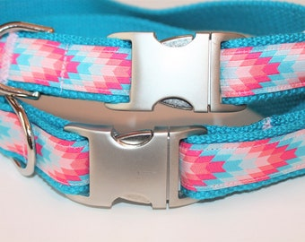Dog collar Aztec Dog Collar Coral Dog Collar Summer Collar Tribal Dog Collar  Girl Dog Collar Pink Dog Collar Large Collar Small Collar