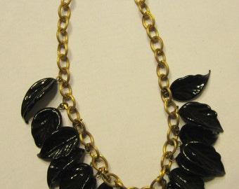 Midnight Navy Glass Leaf Necklace