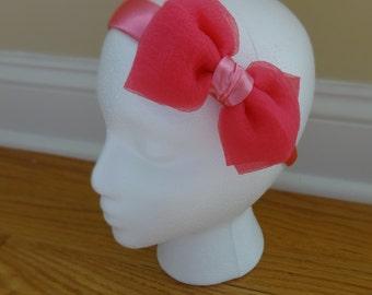 Candy Pink Satin and Organza Headband