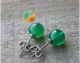 Green Agate Stud Earrings,Genuine Green Agate Earrings,Silver plated earrings,Gemstone earrings,Stone of BALANCE,Healing and Prosperity