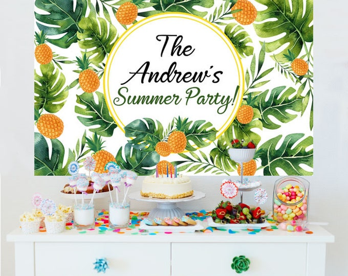 Featured listing image: Summer Pineapple Personalized Backdrop - Birthday Cake Table Backdrop Birthday- Greenery Photo Backdrop, Pineapple Backdrop, Summer Party