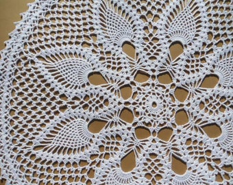 """White Crochet Doily / Large Doily / Pineapple / Round 19 """" /  Lace"""