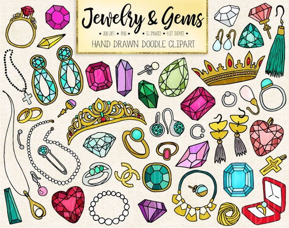 50 off sale doodle gems jewelry clipart hand drawn rh etsy com jewelry clipart free jewelry clipart black and white