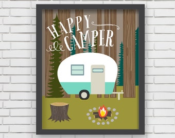 Home Decor Camping Wall Art - Happy Camper Art Print 11x14