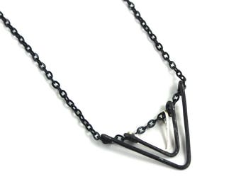 Geometric Steel open Triangles Necklace | Black Steel Necklace | Art Deco | Necklace Victoria BC Vancouver Island Canada