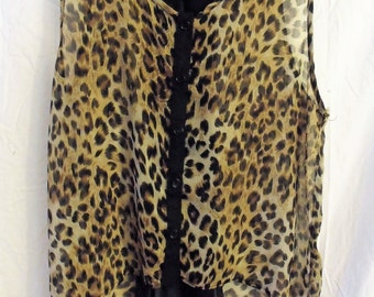Funky Leopard Top/ Black and Gold/ Frilly Leopard Print/ Chic and Shabby/ Thrifted Couture/ Holiday Wear/ Artsy Clothing/ Shabbyfab Funwear