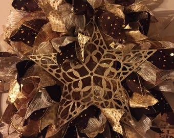 Deco mesh ribbon wreath door hanger handmade