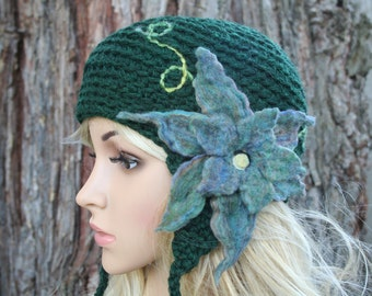 Secret Garden Felted Flower Hat- Forest, Emerald, Spruce- All Wool Ear Flap Hat