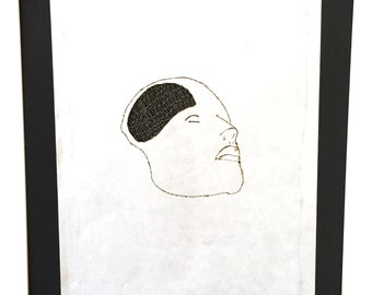 Art print textile bobbin lace and burnt paper, minimalist