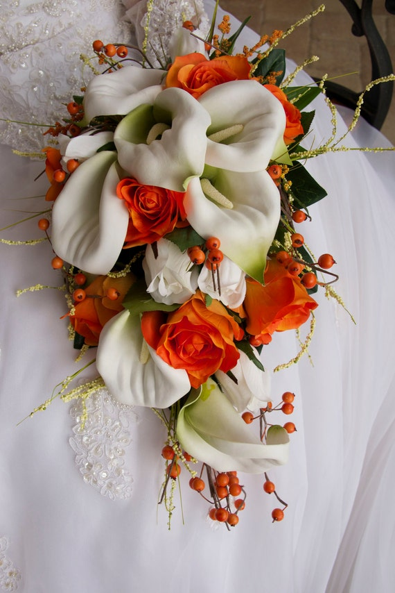 Bride cascade wedding bouquet set orange white calla lily mightylinksfo