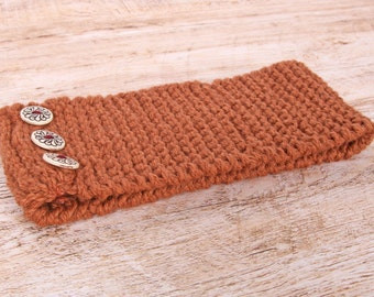 Caramel color with buttons wool headband