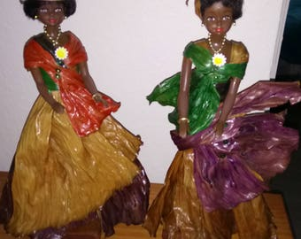 African $ witch bananas real banana collection leaf African doll