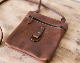 Small zippered cross body, leather cross body, brown leather bag, distressed leather bag, natural leather bag, handmade