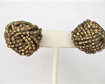 Vintage Jewelry ~  Seed Bead Earrings  Gold Copper Silver  Woven  Pierced