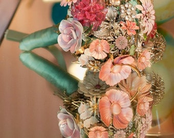 CUSTOM Wedding Jewelry Brooch Bouquet - to fit your style, budget & colors, OOAK, vintage bridal bouquet