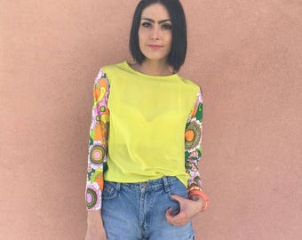 Handmade Chartreuse Crepe de Chine Silk Blouse with Vintage 70s Floral Sleeve