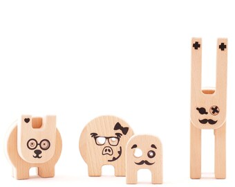 Wood toy - Funny Creatures- construction toy with many assembly options.