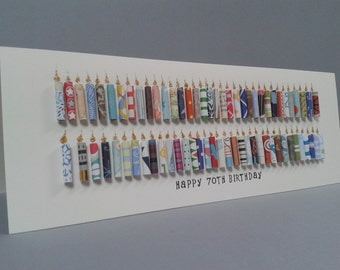 Large 70TH Birthday Candle Card, Can be Personalised with a name, Can be customised to ages 71,72,73,74,75,76,77,78,79.