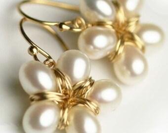 Pearl Flower Earrings - Gold Filled Jewelry-  Pearl Earrings - Pearl Wedding Earrings