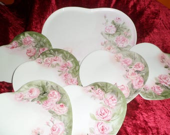 1 plate and 6 matching plates form heart pattern pink customizable wedding gift or wedding anniversary