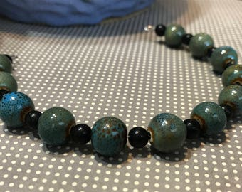 BlueGreen Ceramic Beads and Black Beads