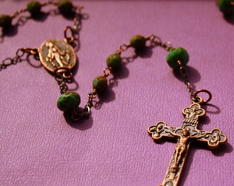 Five Decade Rosary - Wire Wrapped Chain - Antique Copper Crucifix and Miraculous Medal