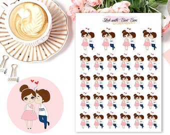 Amelie kawaii DATE/LOVE COUPLE planner stickers || Erin Condren Life Planner, Kikki K, Plum Paper Planner