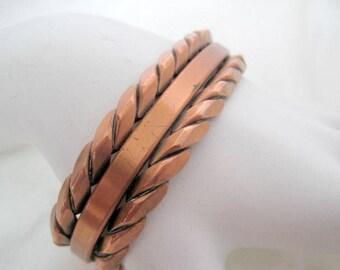 Copper Cuff, Braided Edge, Design Wrap Bracelet