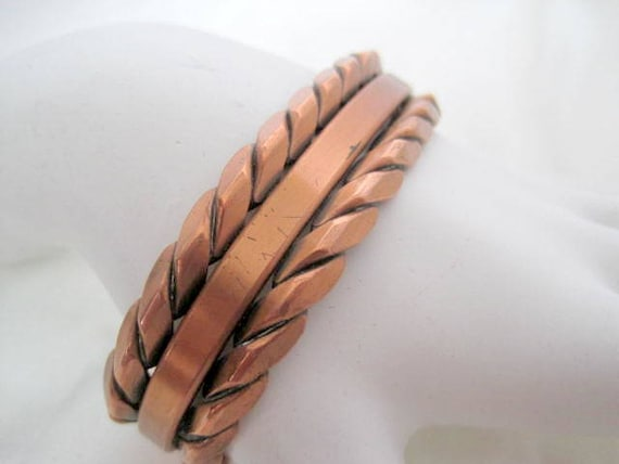 Copper Cuff, Braided Rope Edge, Design Wrap Bracelet, Vintage Bracelet